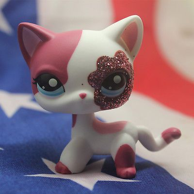 2291 Littlest Pet Shop Pink White Sparkle Glitter Shorthair Cat