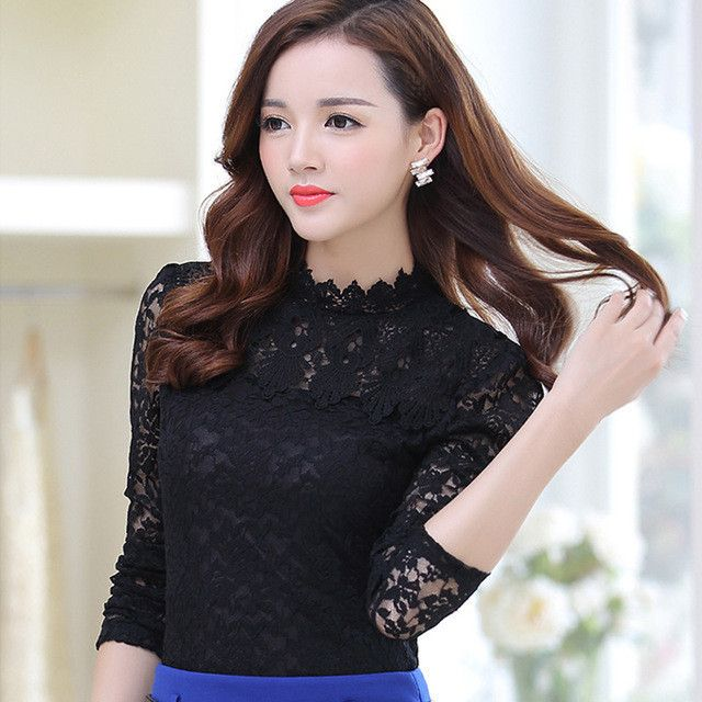 2017 Spring Summer Women Tops Fashion Lace Blouse Long Sleeve Slim Body Floral Shirt Elegant Plus Size Lace Top blusas femininas