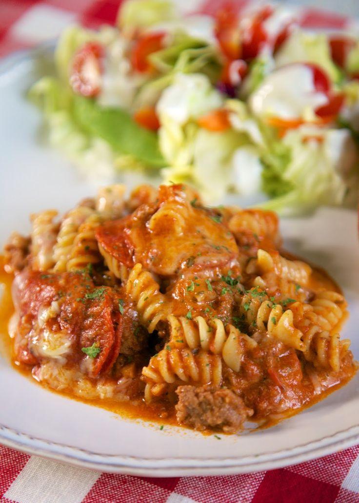 {Freezer Meal} Parmesan Garlic Pizza Pasta | Plain Chicken