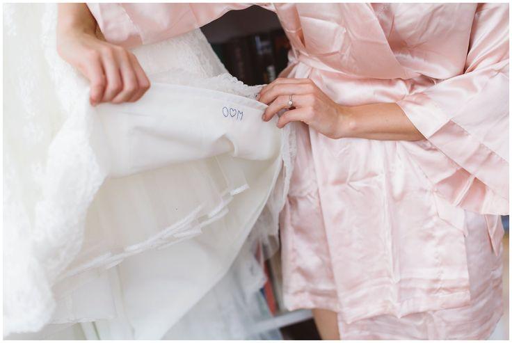 """""""Something blue"""" Embroidery inside the wedding dress // broderi på innsiden av brudekjolen"""