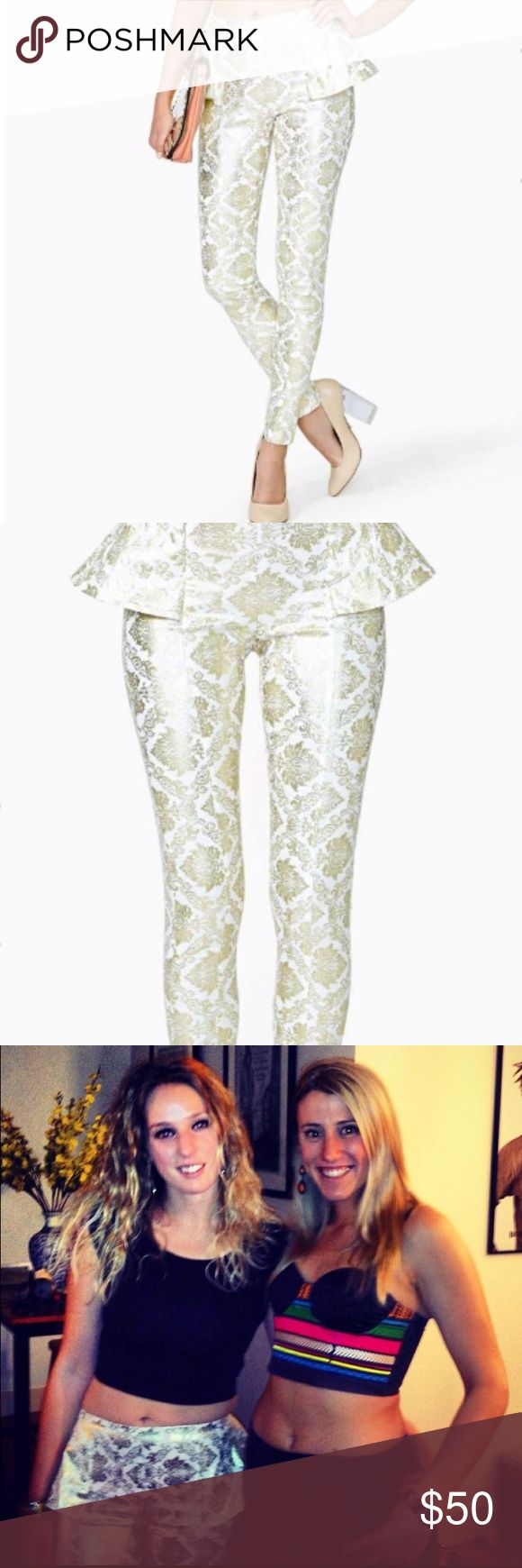 Nasty Gal Peplum Pants Super cute peplum pants with gold detail. Zip at the back and hits at the ankle. Very flattering shape with stretch. Nasty Gal Pants Ankle & Cropped