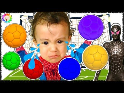 Spider Baby crying and learn colors with Colour Soccer Balls vs Bad Spid...