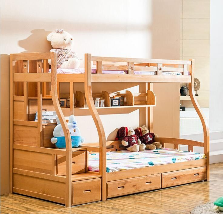 Customizable American Country Wood Childrens Bunk Beds With Stairs Kindergarten Furniture Kids Bedroom Sets Trailer Bed