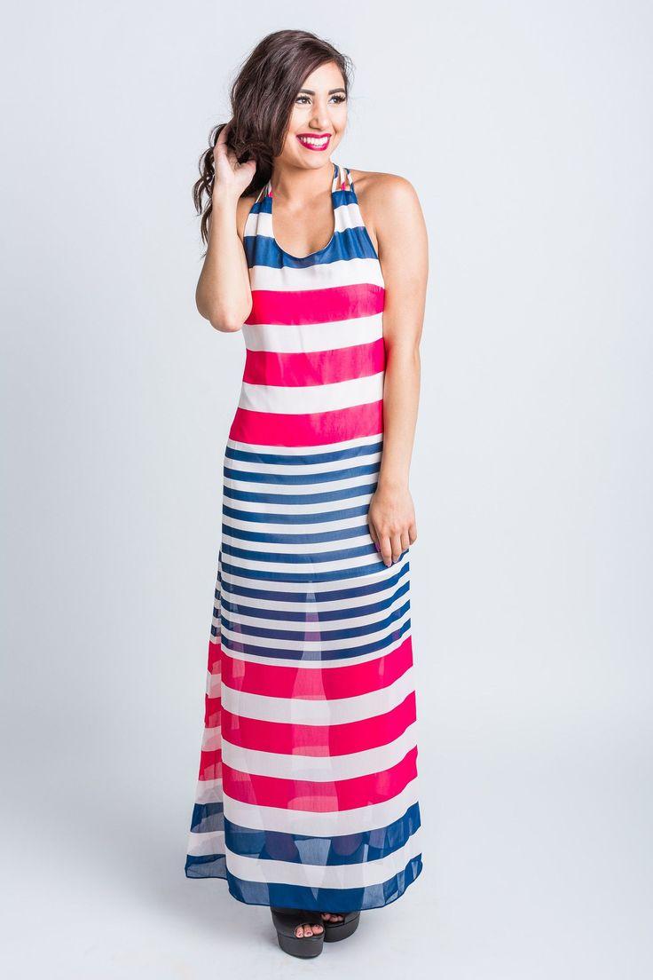 Navy & Fuchsia Striped Maxi Dress
