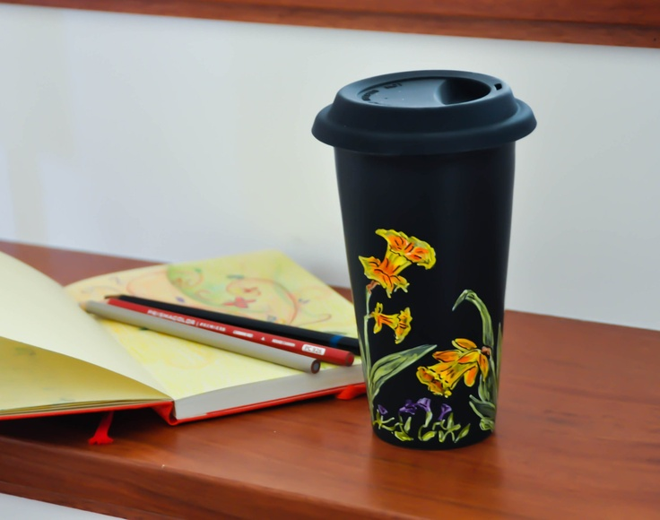 Chalkboard  Ceramic Travel Mug - Made to Order - Hand Painted Porcelain Eco Cup - Black Silicon Lid. $35.00, via Etsy.