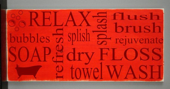 Bathroom Subway Art Vinyl Wooden Sign 12 x 24 by by HDVinylDesigns, $32.00