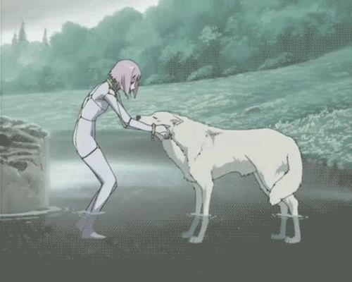 Alex & Amora; last goodbye before a beautiful, well earned death of bravery.  {Wolf's Rain - Kiba and Cheza gif I LOVE THIS ANIME!!!!!}