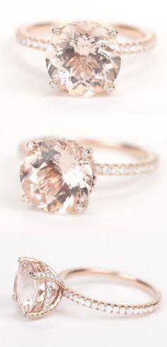 Gorgeous round morganite diamond engagement ring in rose gold!