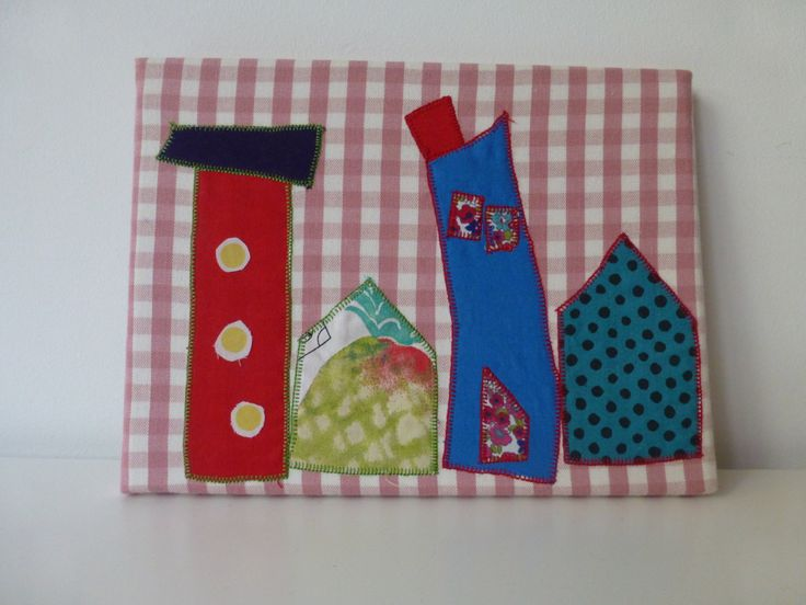 READY TO SHIP Wall art for kids room, little houses on the wall - fabric art, children room decoration,nursery decor - egst by ElliandPaul on Etsy