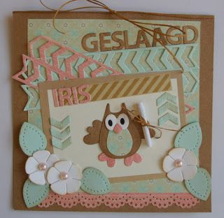 Card by Suzan with Collectables Family Owl (COL1357), Craftables Square (CR1203), Circle & Flower and Stitch (CR1248), Alphabet (CR1281) and Design Folder Extra - Tire Track (DF3407) by Marianne Design