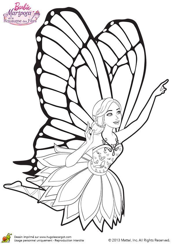 dessin de barbie qui vole avec des ailes de papillons aux royaumes des fes