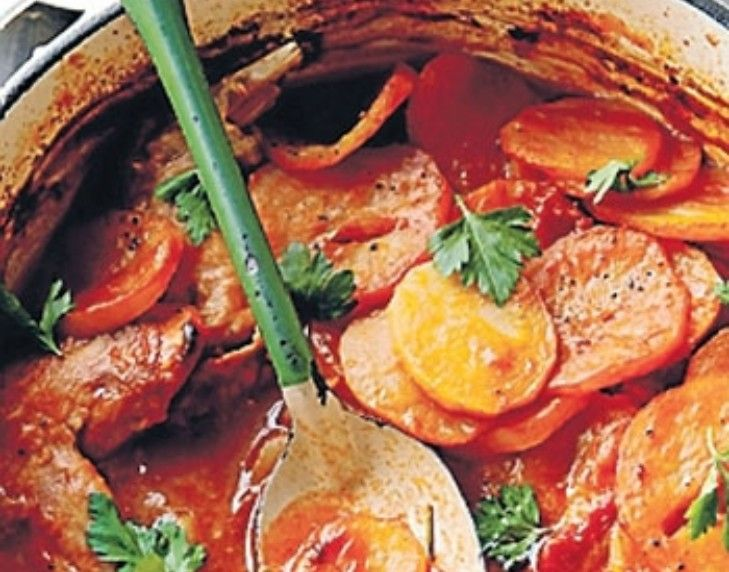 Rabbit and potato stew.  A delicious rabbit braise topped with a lid of potato slices and baked in the oven.  Looks like a nice twist on a classic recipe, I would need the anchovies to be well and truly cooked down and melted into the sauce before adding the larger ingredients.