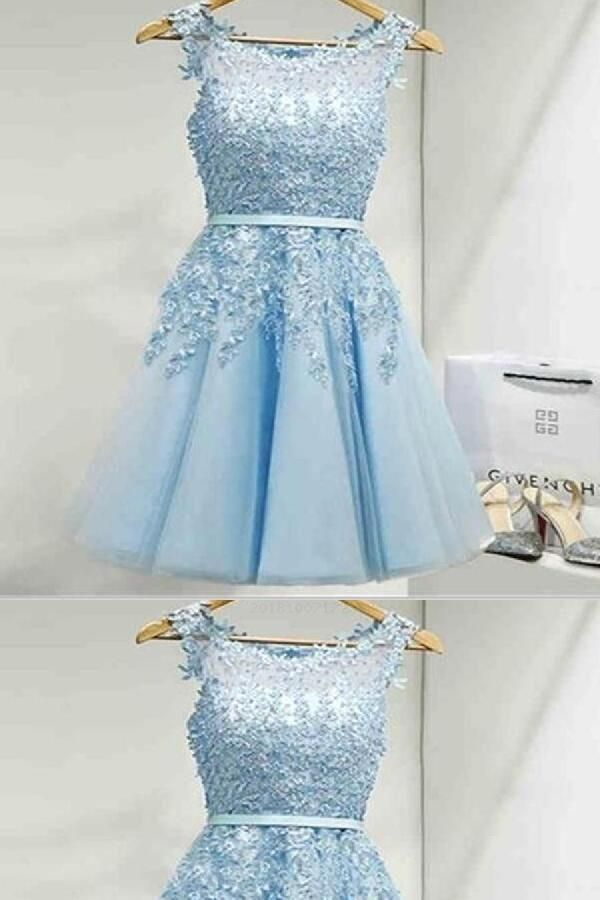 ea10540f105d4 Prom Dress With Appliques, Homecoming Dress Blue, Prom Dress, Lace Prom  Dress, Homecoming Dress For Cheap #Lace #Prom #Dress #Homecoming #For #Cheap  #Blue ...