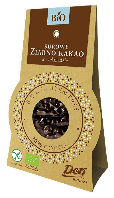 Surowe ziarno kakao w czekoladzie deserowej Bio, 50 g - Doti