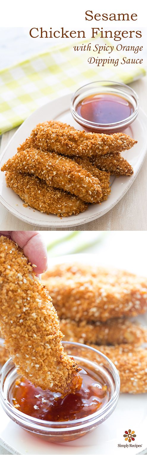 Kid-friendly baked sesame #chicken fingers with a spicy orange dipping sauce. #easydinner #delicious