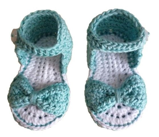 Baby Bow Sandals. Handmade using 100% natural cotton. Colour: Kingfisher. Sizes: 0-6m, 6-12m #olivebyclare