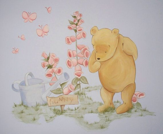 17 best images about hand painted wall murals on pinterest for Classic pooh nursery mural