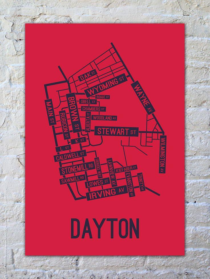 Dayton, Ohio Street Map Print of the University of Dayton neighborhoods. Love UD!
