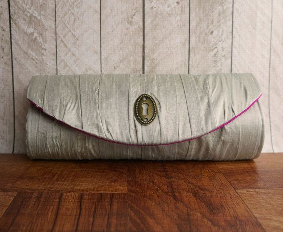 Bridal Party Clutch. Custom clutch, custom colors. Gathered silk clutch with keyhole. Personalized Bridesmaid bag.