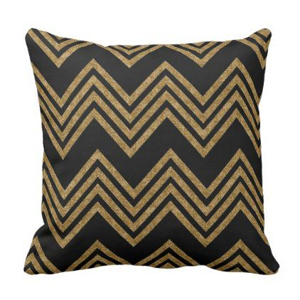 Decorative Gold Chevron Pattern Throw Pillow - chic design idea diy elegant beautiful stylish modern exclusive trendy