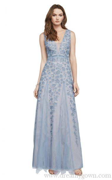 74227bc9a148c 2017 BCBG Elina Embroidered Tulle Evening Gown Floor-length