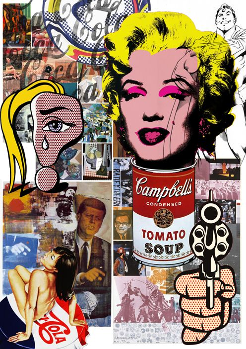 A Pop Art collage combining the work and style of Andy Warhol, Mel Ramos, Peter Mars, Robert Rauschenberg and Roy Lichtenstein.