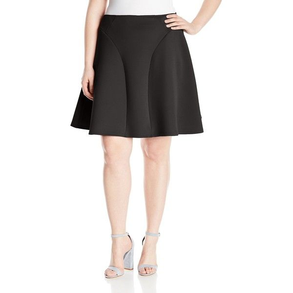 Modamix Women's Plus-Size High Waisted Scuba Flare Skirt ($21) ❤ liked on Polyvore featuring skirts, plus size, plus size long skirts, high-waist skirt, long flared skirt, high-waisted skirt and high waisted skirts