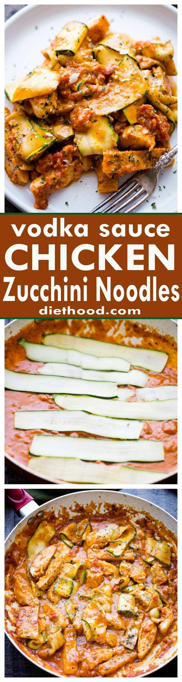 Vodka Sauce Chicken Zucchini Noodles - Easy, quick, but SO delicious Zucchini Noodles and Chicken tossed with homemade Vodka Sauce.