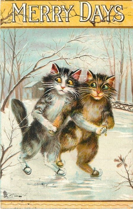 A pair of cats ice skating by Maurice Boulanger. (Louis Wain type cats.) - Illustration for a children's story book.