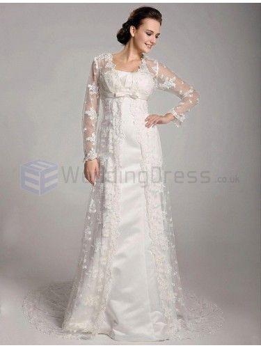 A-line Strapless Satin Lace Floor-length Wedding Dress