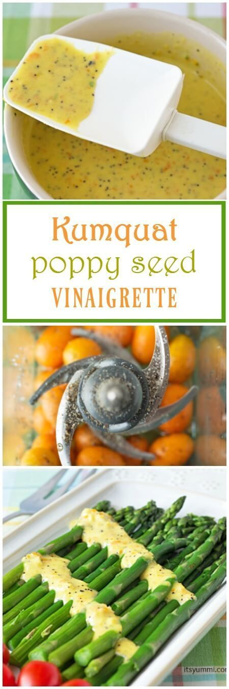 Kumquat poppy seed vinaigrette dressing has fresh kumquats for a tart-sweet flavor and a burst of color. It's perfect drizzled over salads, vegetables, grains, poultry, or even fish. | ItsYummi.com via @itsyummi