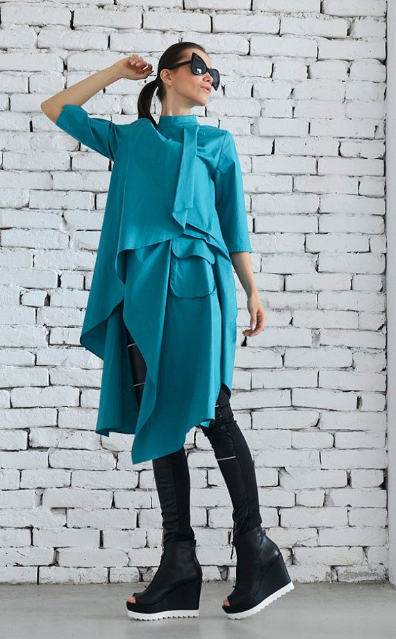 Turquoise Asymmetric Shirt/Loose Green Tunic by Metamorphoza
