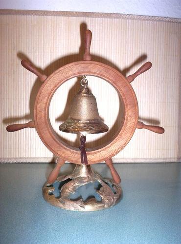 VINTAGE BOAT NAUTICAL WOODEN SHIP WHEEL, BRASS DINNER BELL NAUTICAL DESK DECOR | eBay