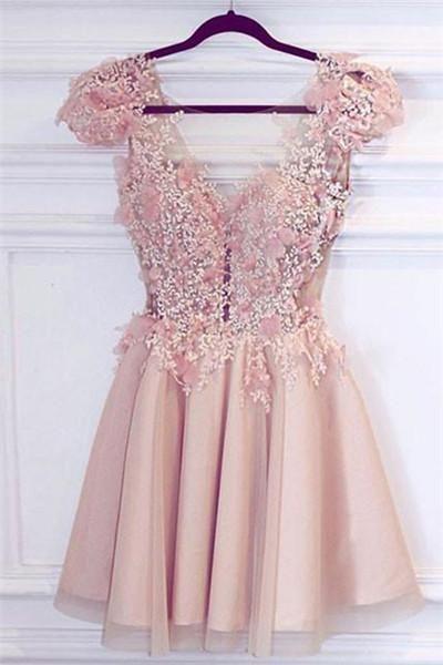 Pink V Neck Short Prom Homecoming Dress short prom dressers