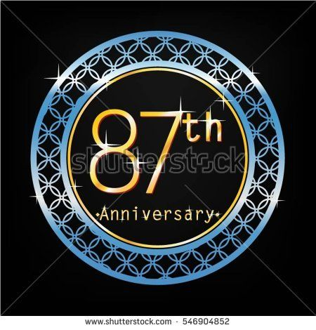 black background and blue circle 87th anniversary for business and various event