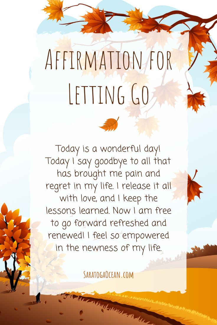 Here is an affirmation for you to let go and exper…