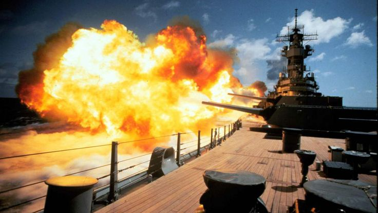 This is the USS Iowa, the first of the largest, most powerful battleship class ever in the United States Navy, equipped with nine 16-inch (406mm) guns that could fire nuclear shells—the only American ship in history with this capability. This photo series is old but still stunning.