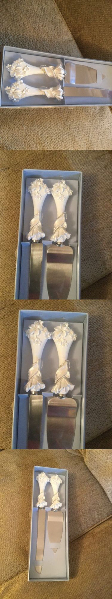 Wedding Cake Servers and Knives 102466: Bride Groom White Flowers Wedding Cake Cutter Knife Server New Annivesary -> BUY IT NOW ONLY: $32 on eBay!
