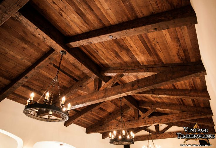 Hand Hewn Reclaimed Wood Truss & Decking