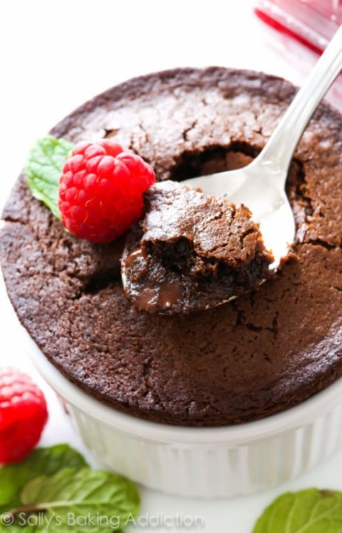 Chocolate Fudge Cakes for 2! The simple recipe for these molten lava-type cakes is on sallysbakingaddiction.com