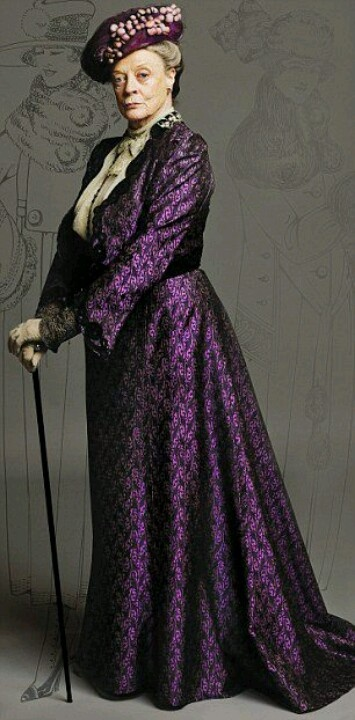 Downton Abbey-This outfit was made for Maggie Smith as Violet. The fabric was created by reproducing an Edwardian print onto silk. The design was based on a jacket from the era.  Read more: http://www.dailymail.co.uk/femail/article-2035619/DOWNTON-ABBEY-SPECIAL-Is-thrilling-new-frock-The-magnificent-outfits-shows-big-stars.html#ixzz3ZF7Nyh8G Follow us: @MailOnline on Twitter | DailyMail on Facebook