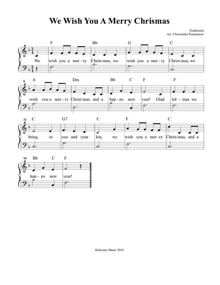 We Wish You A Merry Christmas Sheet Music and Song for Kids!: