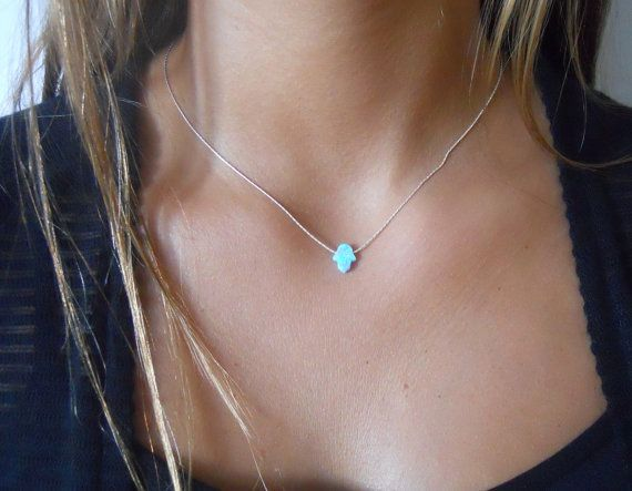 Opal Hamsa Necklace Dainty Gold Filled Or Sterling by annikabella