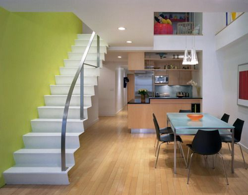 NY Duplex Contemporary Staircase Small Space Room House Interior - Interior design for duplex house