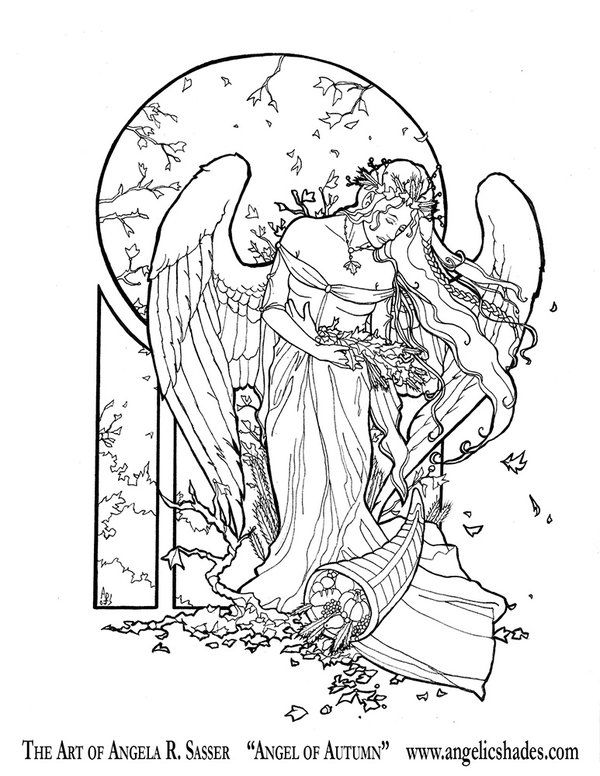 angel of autumn line art by angelasasser on deviantart adult coloring pagescoloring bookscoloring sheetsfree - Free Coloring Book Download