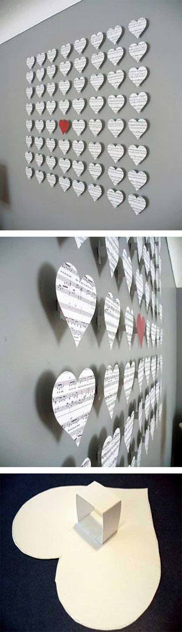 26 DIY Cool And No-Money Decorating Ideas for Your Wall - Lovely Hearts Shaped Out of Musical Scores.