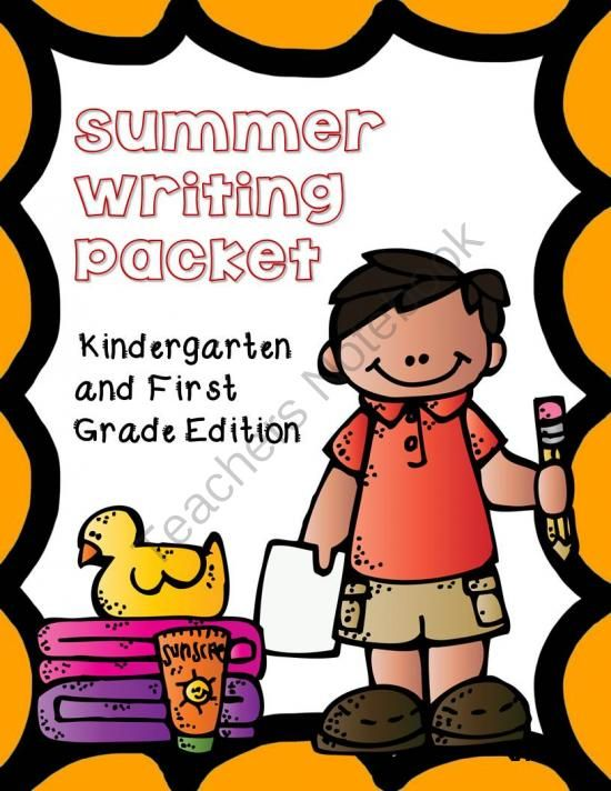 Summer Writing  Handwriting Packet, Kindergarten  1st Grade from Kimberly's Kindergarten on TeachersNotebook.com -  (45 pages)  - This end-of-year writing and handwriting book includes 17 pages of writing and drawing activities + 25 pages of handwriting for your kindergarten or first grade student to practice their skills over the summer.