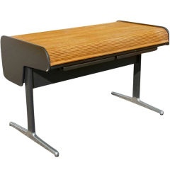 for sale on a mid century modern action office desk designed by george nelson for herman miller originally in oak tambour roll up top action drawers