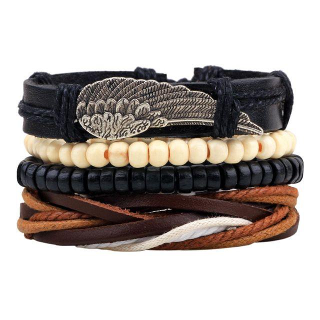 Hot selling 1 Set 4 stks Punk Gevlochten Verstelbare Lederen Armbanden Mannen Voor Vrouwen Manchet Vintage Sieraden Groothandel Pulseras Hombre
