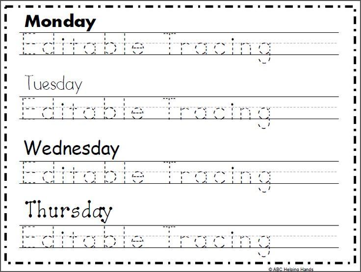 Free editable name tracing worksheet 4 day name